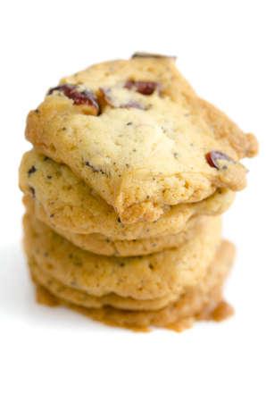 Fresh baked organic passion fruit cookies on white background photo