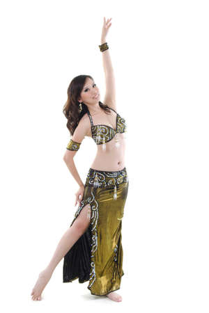 Sexy belly dancer on white background photo