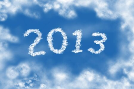Year 2013 cloud and blue sky on sunny day. Stock Photo - 13011356