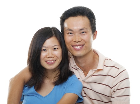 mid adults: Loving Asian Couple on white background Stock Photo
