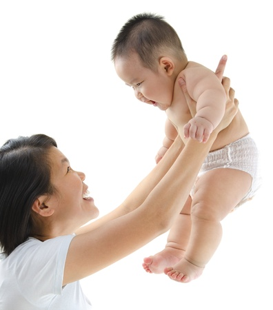 asian baby: Asian mother playing with her baby boy