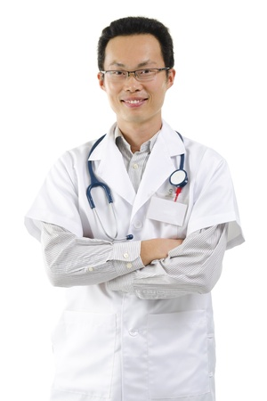 Asian male doctor portrait on white background photo