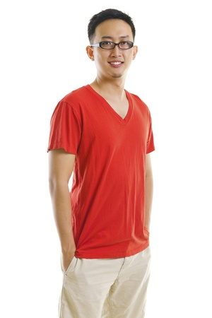 malay boy: 30s Asian male standing on white background