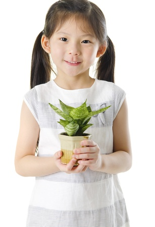 pan asian: Concept of little girl holding a plant on white background