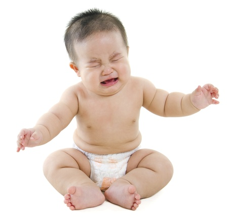 Full body Asian baby boy crying on white background photo