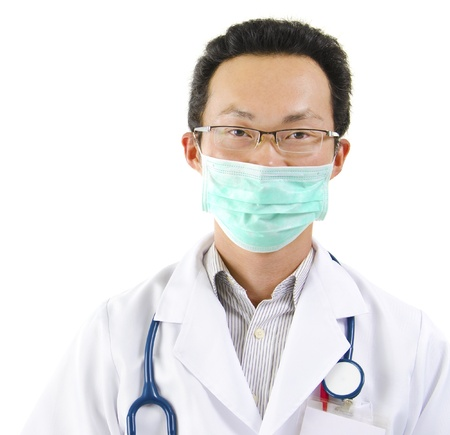 Asian male doctor with face mask portrait on white background photo