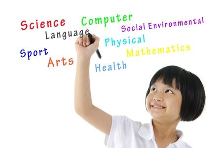 voortgezet onderwijs: Pan Aziatische schoolmeisje het schrijven van haar schoolvakken op lege ruimte Stockfoto