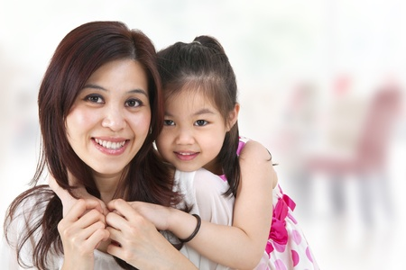 mother day: Mother and daughter,indoor home Stock Photo