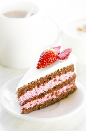 Strawberry slice cake, natural lighting photo