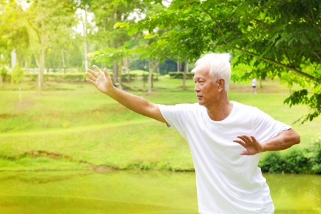 qigong: Asian senior man practicing tai chi in the park Stock Photo