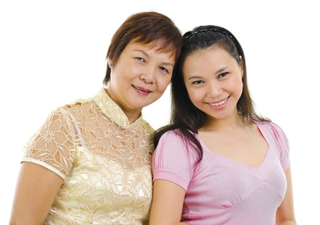 Mixed race Asian family isolated on white background Stock Photo - 13736816