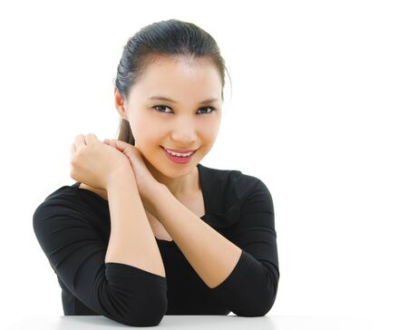 pan asian: Portrait of mixed race Asian female isolated on white background