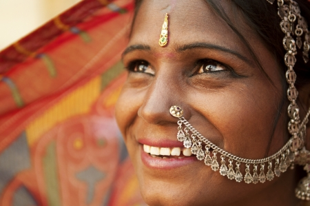 indian saree: Portrait of an India Rajasthani woman