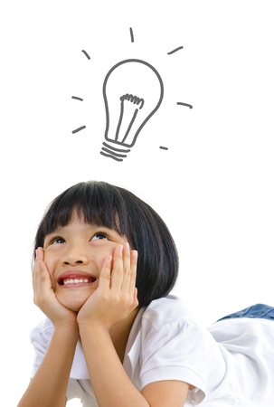above head: Pan Asian thinking on white background, with a light bulb above head Stock Photo