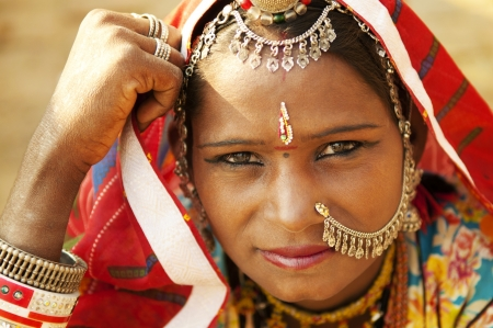 cultural and ethnic clothing: A portrait of beautiful Indian woman, Rajasthan, Jaisalmer, India Stock Photo