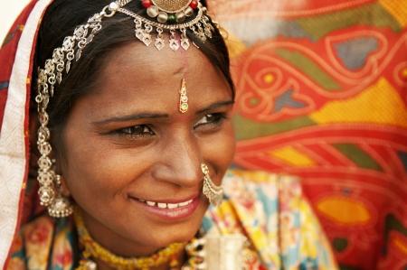 sari: Retrato de una mujer sonriente India, Rajast�n
