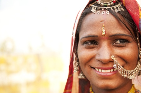 gypsy woman: Portrait of a traditional clothing Indian smiling Stock Photo