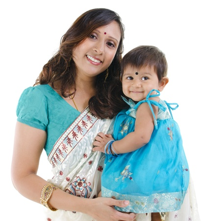 indian saree: Traditional Indian mother and her baby girl isolated on white background Stock Photo