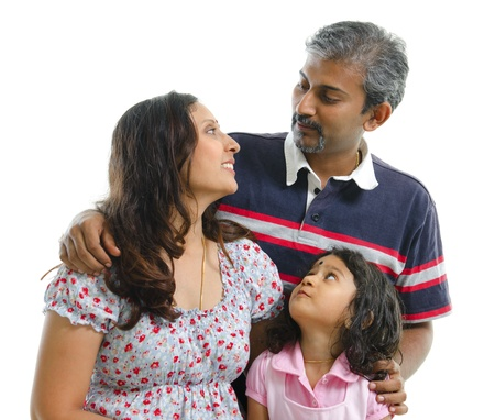 indian family: Modern Indian family having conversation on white background