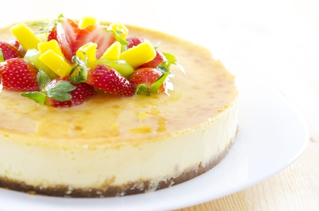 cake topping: Freshly homemade passion fruit cheese cake Stock Photo