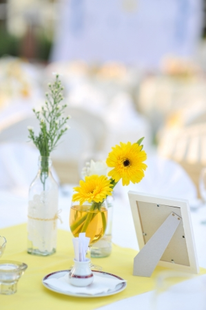 Decoration of garden wedding table. photo