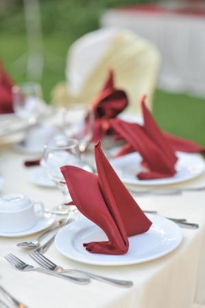 servilleta: Banquete de boda table setting, profundidad de campo