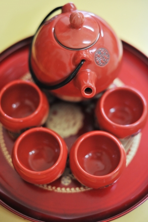 japan calligraphy: Chinese ceramic tea set and cups, the Chinese word on teapot mean double happiness