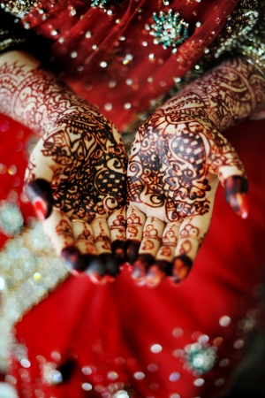 Beautiful henna tattoo in an Indian bride's hand photo