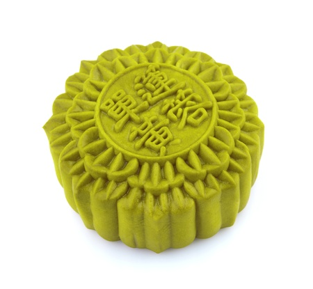 Chinese matcha Moon cake isolated over white background.  photo