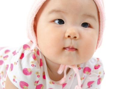 Close up Asian mixed race baby girl photo