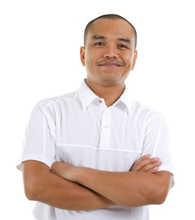 malay ethnicity: Confident 30s Southeast Asian man crossed arms isolated on white background