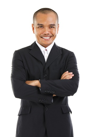 malay ethnicity: Confident Southeast Asian businessman crossed arms over white background Stock Photo