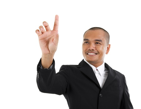 access point: 30s southeast Asian business man pointing on transparent virtual screen, space for textbutton
