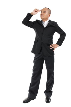 30s: 30s Southeast Asian business man having an idea, fullbody over white background