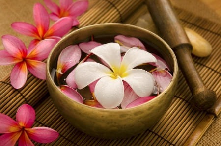 bali massage: Tropical spa with Frangipani flowers on water. Low lighting, suitable for spa related theme.