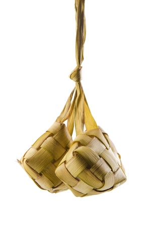 compressed rice: Ketupat or packed rice is a type of dumpling.