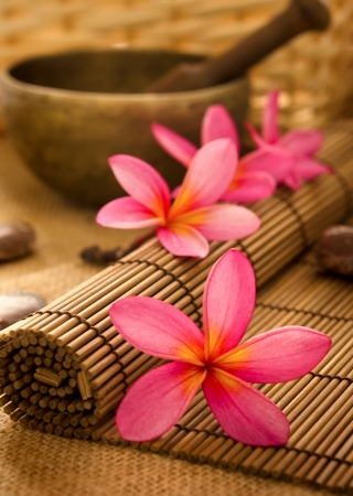 Balinese Spa setting. Low lighting, suitable for spa related theme. Stock Photo