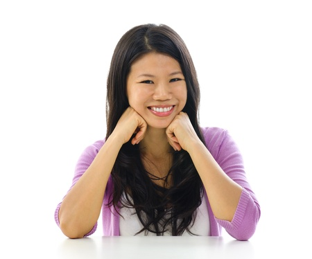 Portrait of cheerful Asian woman over white background Stock Photo - 15200347