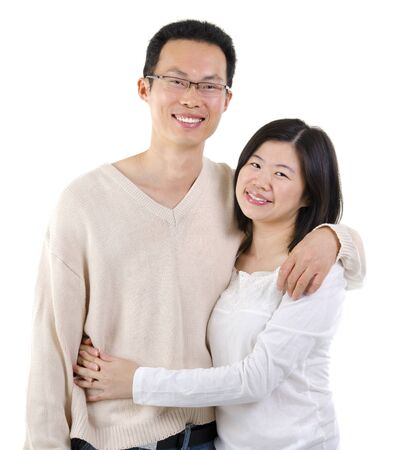 Loving Asian Couple on white background photo