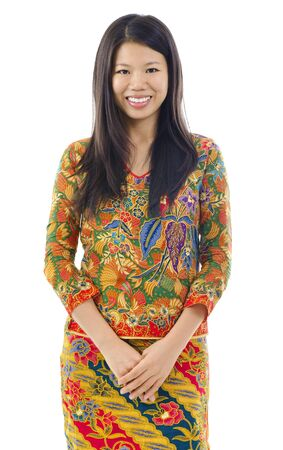 southern thailand: Batik usually worn by women in Indonesia, Malaysia, Brunei, Burma, Singapore, southern Thailand. Stock Photo