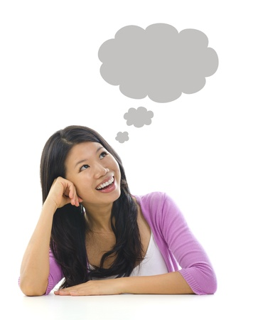daydreaming: Asian girl having a thought bubble over white background