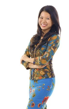 southern of thailand: Asian woman in Kebaya, kebaya usually worn by women in Indonesia, Malaysia, Brunei, Burma, Singapore, southern Thailand. Stock Photo