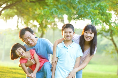 Happy Asian Family Outdoor Lifestyle photo
