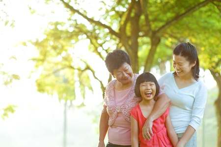 Grandmother, mother and me at outdoor park photo