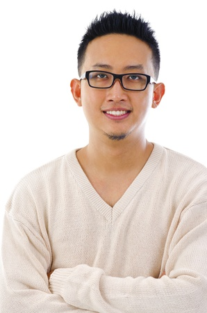 Young Asian man portrait over white background photo