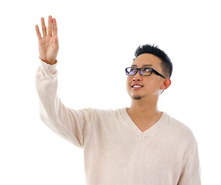 Asian man hand touching on transparent virtual screen, space for textbutton photo