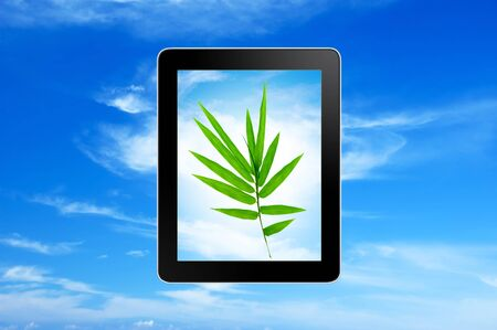 Plant growing in tablet pc over blue sky photo