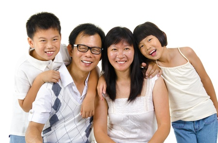 Asian family isolated on white background photo