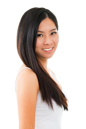 asian woman face: Portrait of young Asian girl over white background