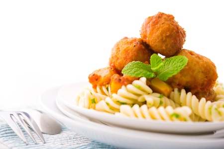 Delicious Fusilli with meatball ready to serve photo